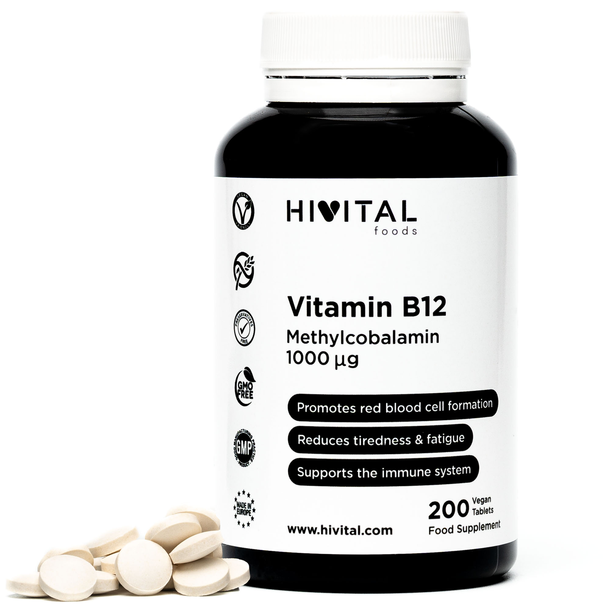 ▷ Vitamin B12 Methylcobalamin 1000mcg | 200 Vegan Tablets