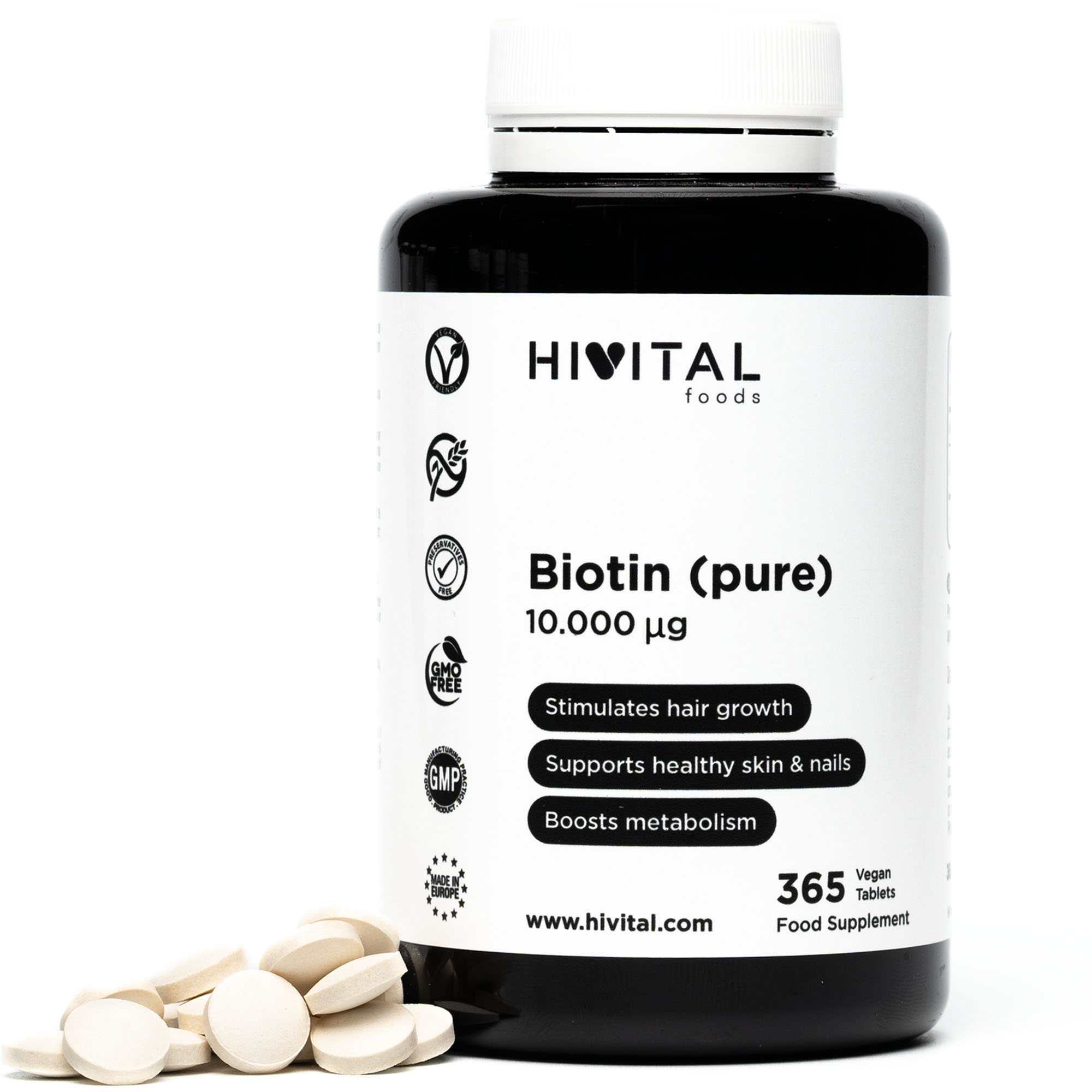 ▷ Biotin Pure 10.000mcg | 365 Vegan Tablets