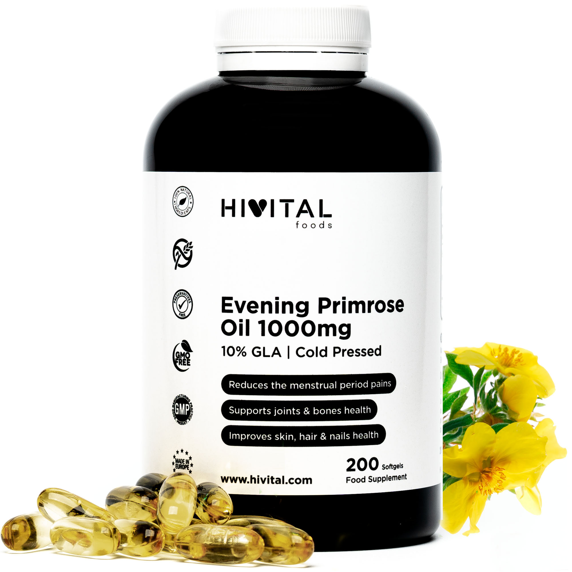 ▷ Evening Primrose Oil 1000mg | 200 Softgels