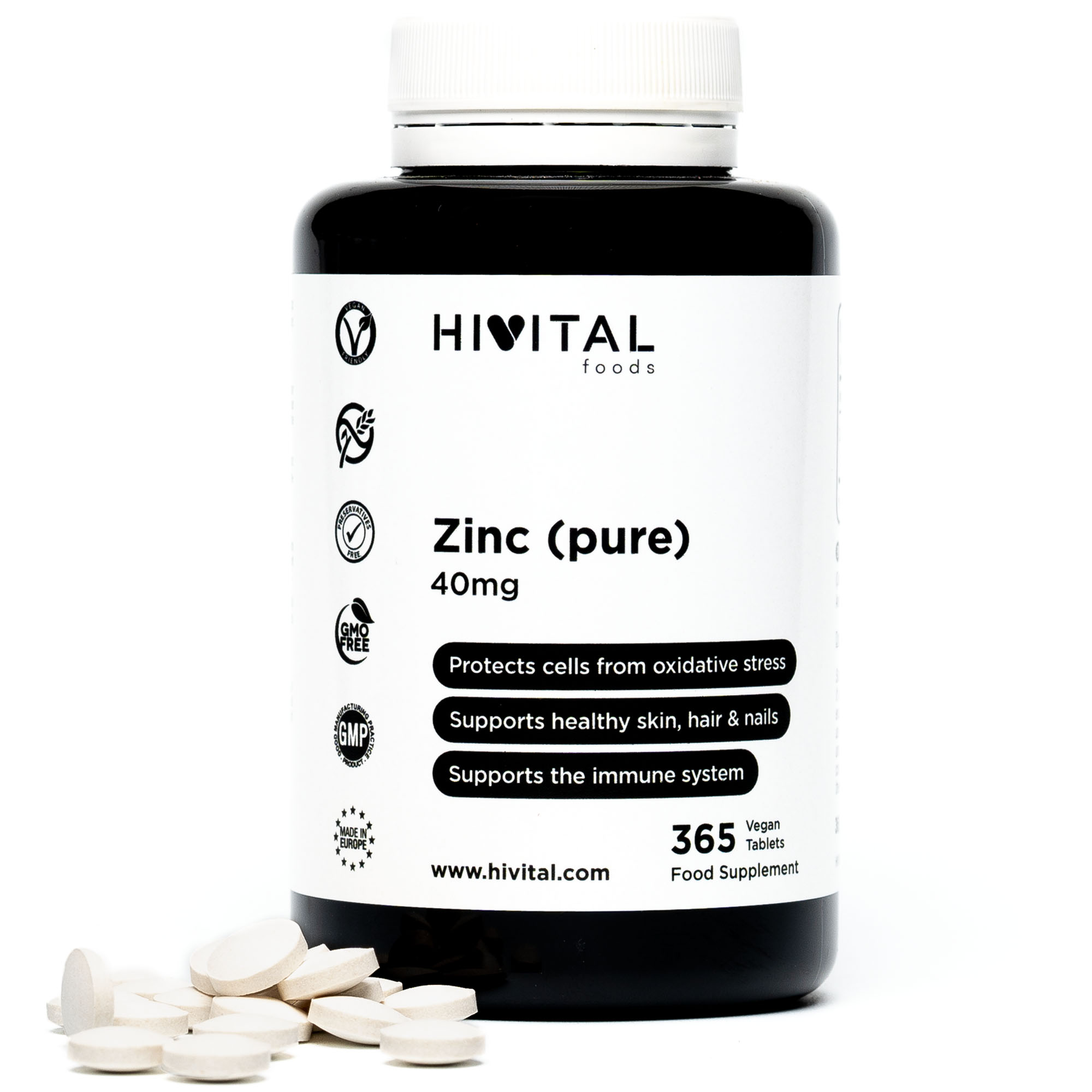 ▷ Zinc Pure 40mg | 365 Vegan Tablets